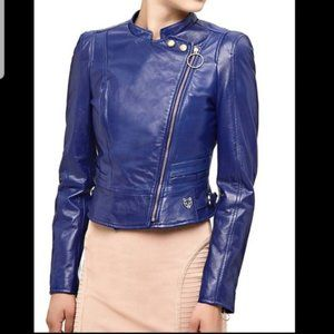 NWT Marciano Blue Leather Jacket Made In Italy